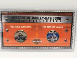History of the Harley Davidson Coin Collection 2 Genuine U S  Half Dollar Coins   Features Color Fronts with Artwork