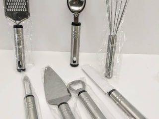 NEW 7 Piece Utensil Gift Set   Includes   Cake Server  Grater  Whisk  Bottle Opener  Peeler  Ice Cream Scoop    Paring Knife