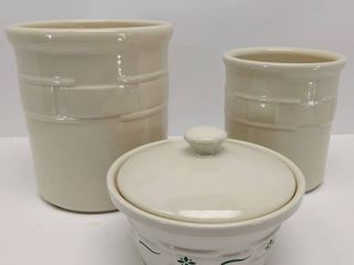 2 Woven Traditions Ivory Canisters by longaberger   Bonus   Small longaberger Bowl w lid