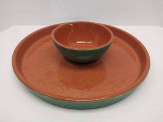 Gorgeous  13 5  Williams Sonoma Pottery Chip Platter   Salsa Bowl
