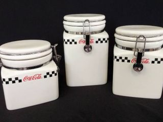2002 Gibson Coca Cola Ceramic Checkered Canisters Set Of 3 w  Clamp Closure lids