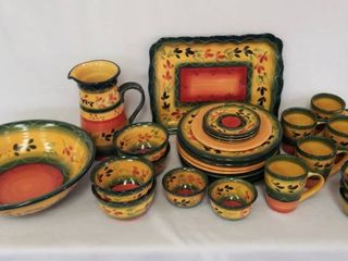 30 Pieces   la Province by Corsica Home   Vibrant Dinnerware   Includes 16  x 12  Rectangle Platte  A 14 5  x 4 5  Tall Serving Bowl   Pitcher