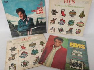 4 Vintage Albums from Elvis Presley   3 Christmas Albums    Kissin  Cousins  Soundtrack   All in Plastic Protective Covers
