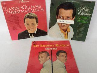 2 Vintage Andy Williams Christmas Albums   Bonus Righteous Brothers Album
