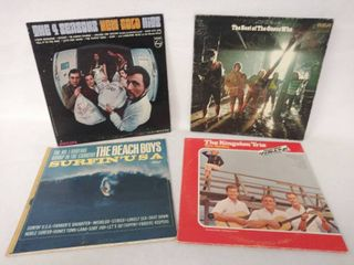lot of 4 Vintage Albums   The Beach Boys  Surfin USA   The Best of the Guess Who  The Kingston Trio    The Four Seasons