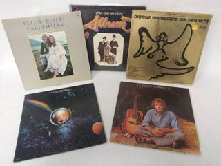 lot of 5 Vintage Albums   Carpenters  Close to You  Peter  Paul   Mary  New Riders  Gordon lightfoot    Dionne Warwick  Golden Hits Part 2