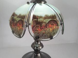 14 5  Tall Table lamp with John Deere Tractor Pictures on the Glass Panels