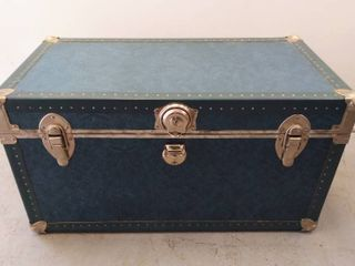 Vintage Blue Steamer Trunk With leather Handles  30 5  W x 15 5  D x 16  T