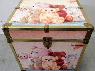 Adorable Vintage Teddy Bear Storage Box  Trunk  15 5  W x 15 5  D x 16 5  H