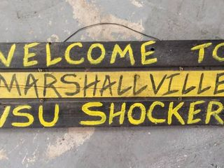 Welcome to Marshall ill WSU Shockers Vintage Hanging Wood Sign   38  long