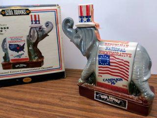Vintage 1976 Republican National Convention Elephant Ezra Brooks Decanter in Original Box   Full