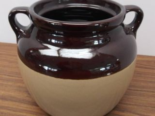 Vintage Two Tone Brown  Double Handle Stoneware Crock from Monmouth Pottery