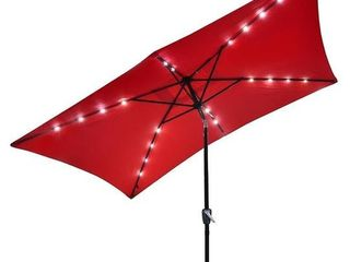 patio umbrella with lED lights and solar panel