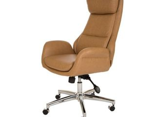 MidCentury Modern Bonded leather Gaslift Adjustable Office Chair Camel   Glitzhome