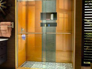Dreamline SHDR 6360762 04 Sapphire 56 60  W x 76  H Semi Frameless Bypass Shower Door in Brushed Nickel