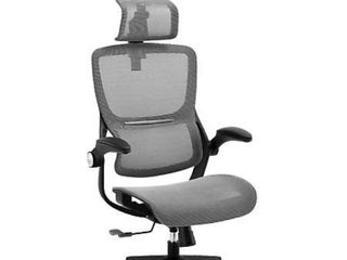 XISHE Ergonomic High Back Mesh Computer Task Chair with Flip up Arms  Grey