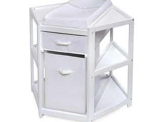 Badger Basket Diaper Corner Baby Changing Table with Hamper and Basket   White