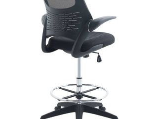 Modway Advance Drafting Chair with Mesh Back and Armrests in Black