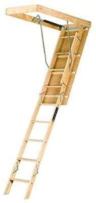 louisville ladder 22 5 by 54 Inch Wooden Attic ladder  Fits 8 Foot 9 Inch to 10 Foot Ceiling Height  250 Pound Capacity  l224P