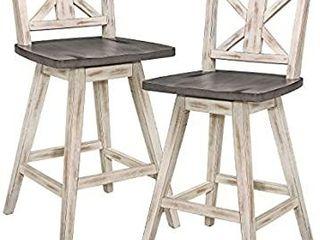 Homelegance Barstool  Set of 2  Amsonia Counter Height Swivel Stool  2 Pack  White