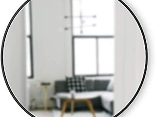 Umbra 358370 040 Hub Wall Mirror With Rubber Frame   37 Inch Round Wall Mirror for Entryways  Washrooms  living Rooms and More  Doubles as Modern Wall Art  Black