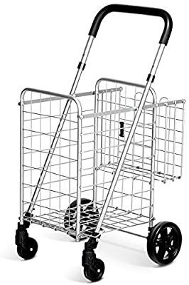 Goplus Folding Shopping Cart Double Basket Perfect for Grocery laundry Book luggage Travel with Swivel Wheels