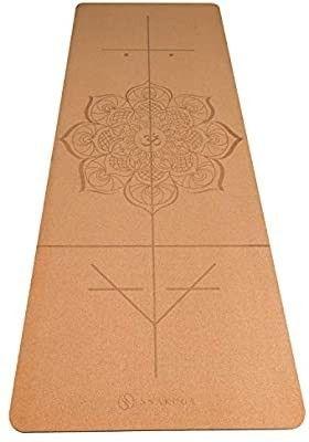 SNIKUGI Cork Yoga Mat   Premium 4MM Natural Cork   Eco Friendly Rubber   Non Slip Exercise   Fitness Mat   Perfect for Yoga  Pilates  Bikram  Ashtanga   Workouts  72  x 26  x 4mm