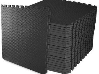 Balance From Puzzle Exercise Mat with EVA Foam Interlocking Tiles  Black   24 Pieces Tiles