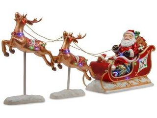 2 flying reindeer pulling Santa sleigh