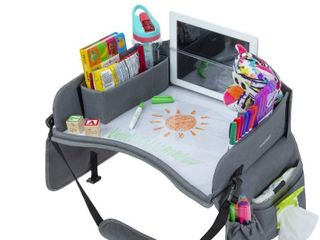 Premium Kids Travel Tray  Waterproof Surface  Dry Erase Board  Car Seat lap Tray Front and Rear Facing  Snack  Play Tray  Standard  Gray  16 50 x 13 50 Inches