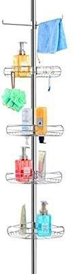 AllZONE Tension Shower Standing Caddy Corner  Rustproof 304 Stainless Steel  4 Tier Baskets  1 Towel Bar  56 114 Inches