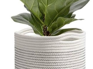 TIMEYARD Woven Cotton Rope Plant Basket for 7in to 9in Flower Pot Floor Indoor Planters  10a x 10a Storage Basket Organizer Modern Home Decor