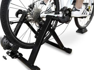 Balance From Bike Trainer Stand Steel Bicycle Exercise Magnetic Stand with Front Wheel Riser Block  Black