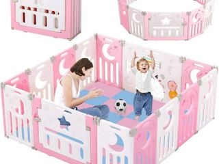Baby Playpen  Dripex Upgrade Foldable Kids Activity Centre Safety Play Yard Home Indoor Outdoor Baby Fence Play Pen NO Gaps with Gate for Baby Boys Girls Toddlers  14 Panel