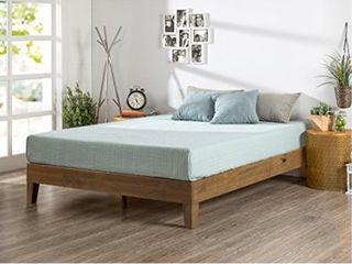 ZINUS Alexis Deluxe Wood Platform Bed Frame   Solid Wood Foundation   No Box Spring Needed   Wood Slat Support   Easy Assembly  Rustic Pine  Queen