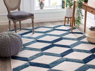 Well Woven Good Vibes Millie Blue Modern Zigzag Stripes 7 10  x 10 6  3D Texture Area Rug
