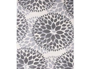 Rugshop Modern Floral Circles Design Runner Rug 2  x 10  Gray