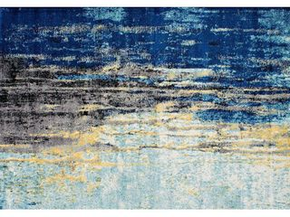 nulOOM Waterfall Vintage Abstract Area Rug  5  x 7  5  Blue