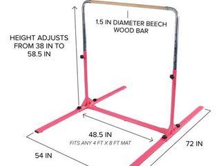 tumbl trak jr bar pro adjustable gymnastics training bar  pink