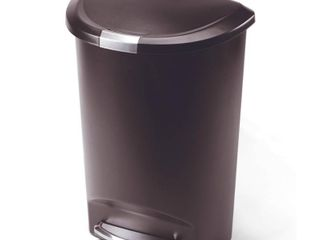 simplehuman 50l Semi Round Plastic Step Trash Can Brown