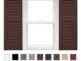 brown wooden outdoor window shutters for home  sold as is