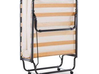 linon luxor Folding Rollaway Cot Sized Bed with 4 5  Mattress  Memory Foam  Single