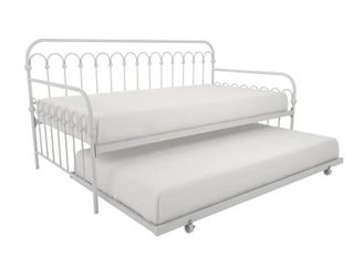 Novogratz bright pop metal daybed and trundle twin  white