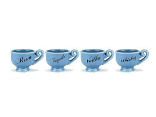 Barbuzzo  Tea Party  Ceramic Shot Glasses   Blue  Set of 4