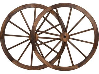 Decorative Vintage Wood Garden Wagon Wheel With Steel Rim   31 5  Diameter   by Trademark Innovations  Set of 2    Not Inspected