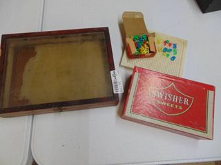 Display cas and Cigar box with contents