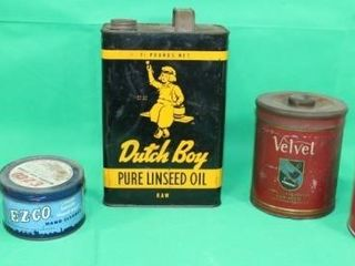5 Metal Tins  Tobacco  Oil   Cleaner