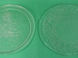 2 Round Glass Christmas Trays