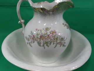 Hand Painted Pitcher   Anchor Pottery Basin