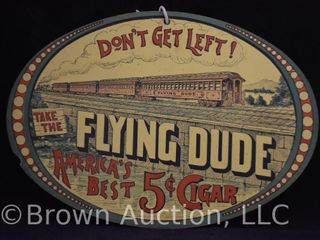 Take the Flying Dude  5 cent cigar double sided cardboard advertising sign